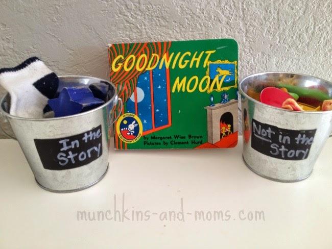 Goodnight Moon preschool sorting activity