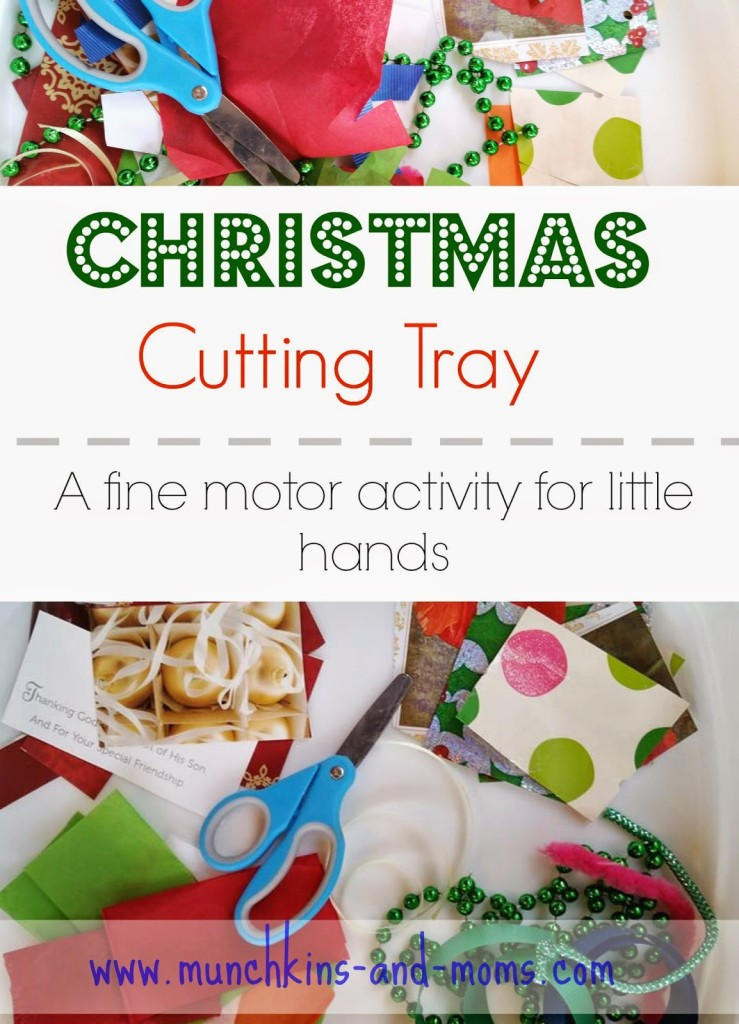 Christmas Cutting Tray for preschoolers