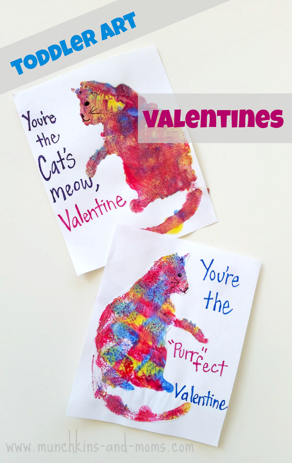 Cat Print Valentine Cards Munchkins and Moms – Toddler Valentine Cards