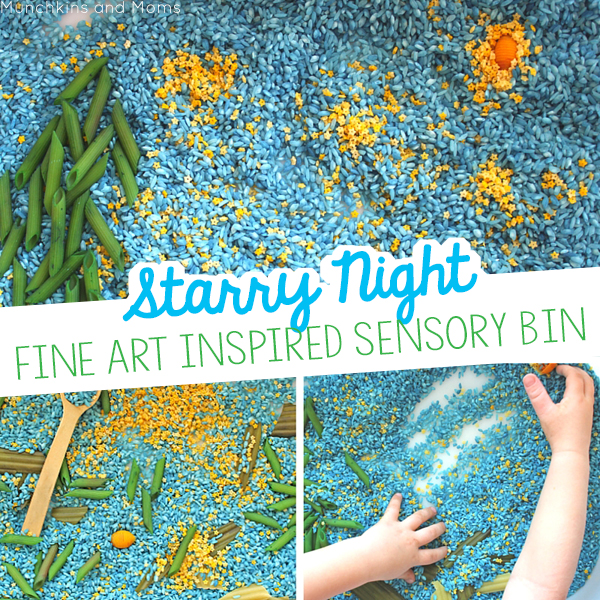 A sensory bin to explore Starry Night!