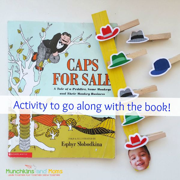 "Fine motor, sequencing, and math activity for the book ""Caps for Sale""!"
