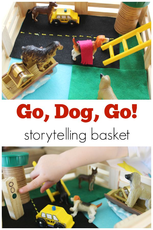 Go, Dog, Go! storytellig basket for preschoolers!