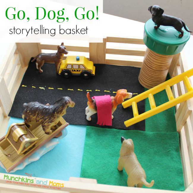 Go, Dog, Go! Storytelling basket for preschoolers and toddlers to extend the story with pretend play!