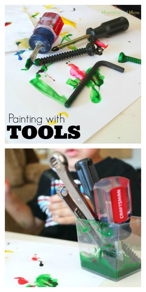 Painting with tools- There are SO many lessons in this simple preschool process art activity!