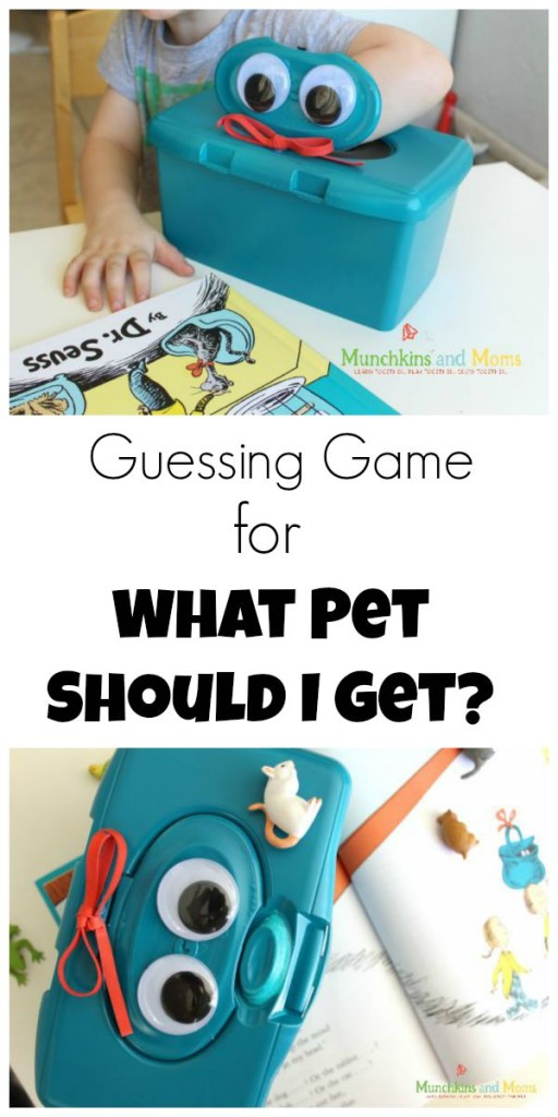 "Fun guessing game for the new Dr. Seuss book ""What Pet Should I Get?"""