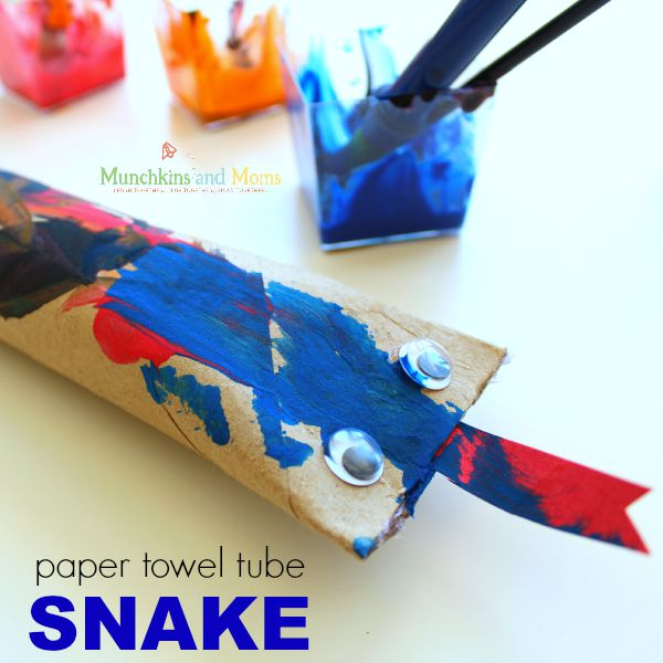 Make a fun snake craft out of paper towel tubes!