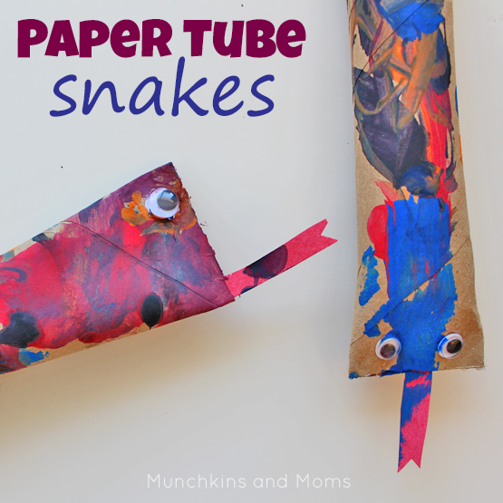 Make this rattling snake craft with paper towel tubes and paint!