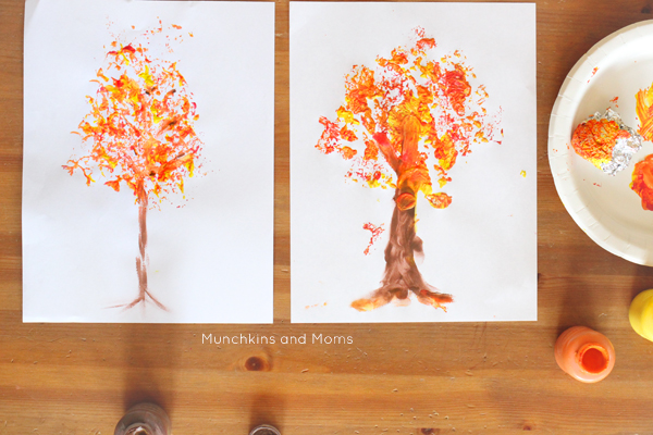 foil printed fall tree art this is a great fall preschool art project so