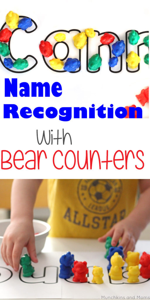 Name recognition activity using bear counters