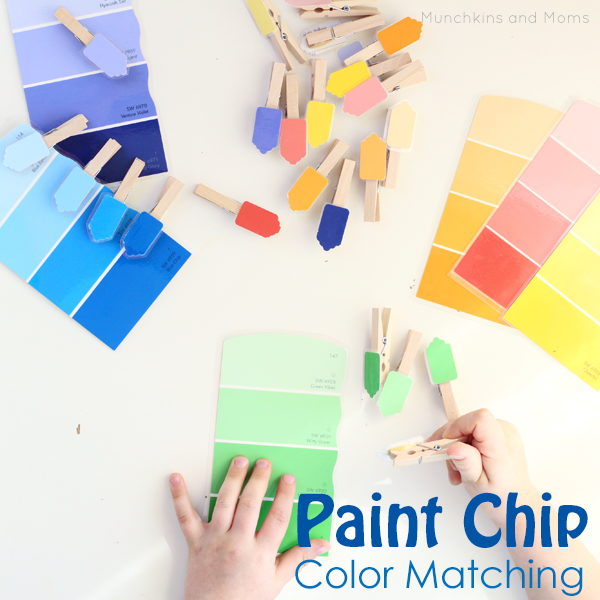 Color Match Paint paint chip color matching activity - munchkins and moms
