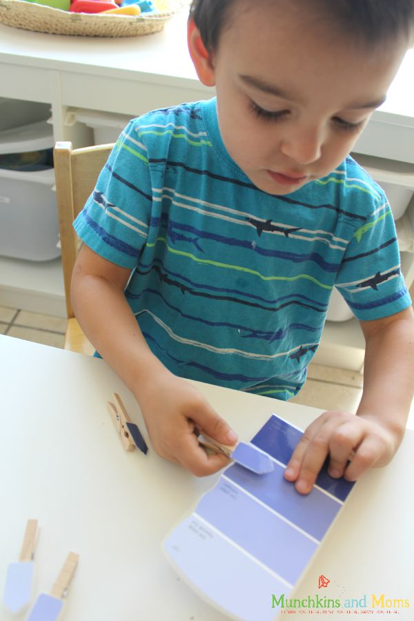 Paint chip and clothespin color matching activity