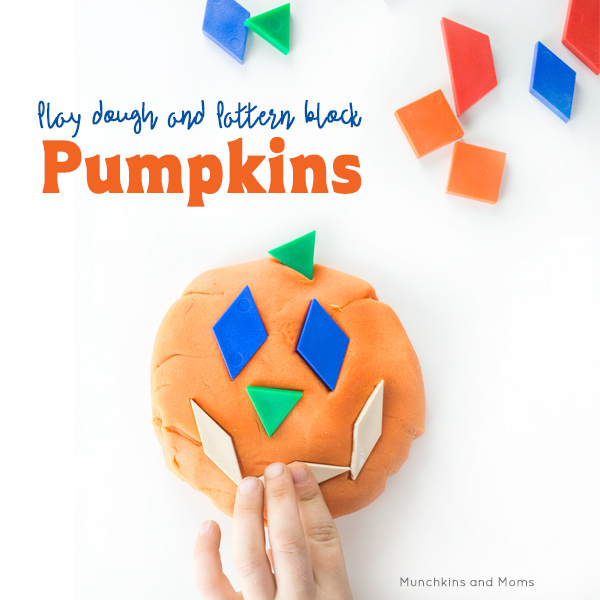 Make jack-o-lanterns with play dough and pattern blocks!