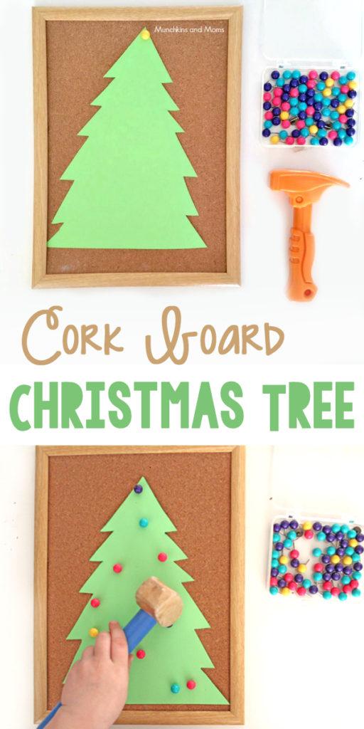 Let preschoolers work on fine motor skills by decorating a cork board Christmas Tree!
