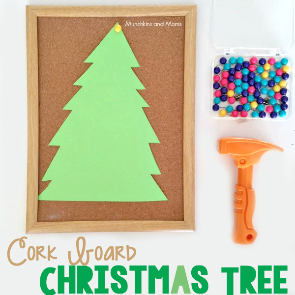 Let preschoolers work on fine motor skills by decorating a cork board Christmas Tree!