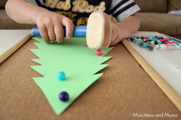 cork board christmas activity