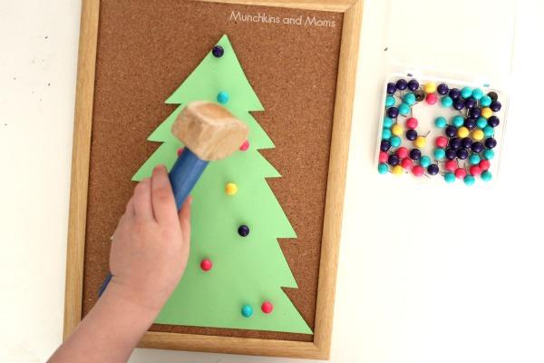 cork board christmas tree