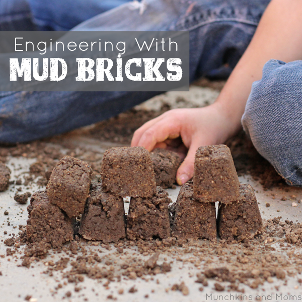 Engineering with Mud Bricks. Preschool STEM activity for spring.