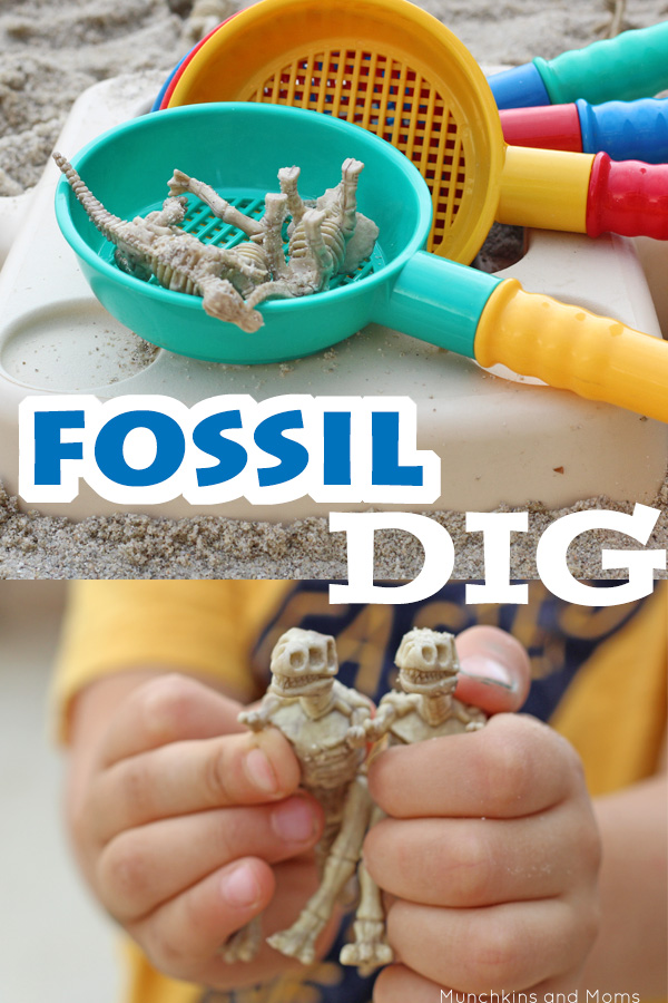 Preschoolers love playing paleontologist with this fossil digging activity!