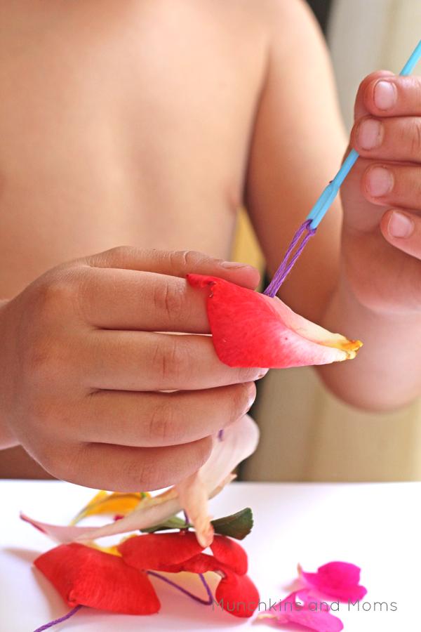 Fine motor work for preschoolers using nature finds!