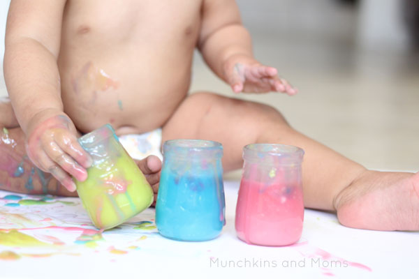 baby's first painting! Make sure to use this edible finger paint recipe during the photo shoot!
