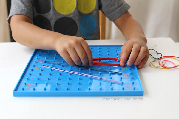 Combine fine motor skills and alphabet practice with this Alphabet Geoboard Activity!