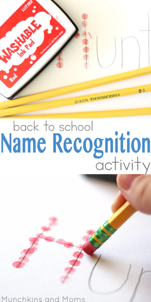 Back to School Name Recognition Activity | Preschool art and fine motor project