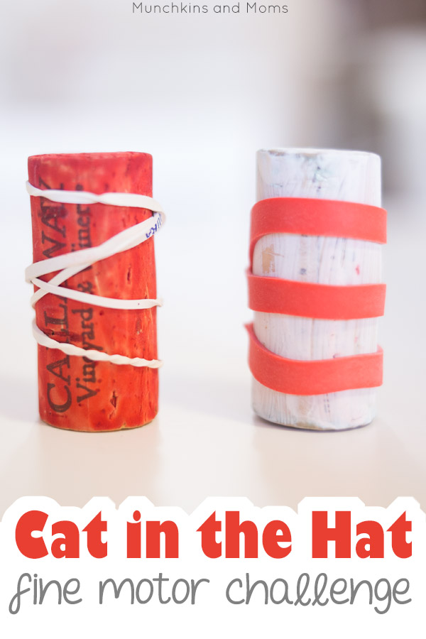 Upcycle wine corks to make a simple Cat in the Hat inspired fine motor activity! Preschoolers and kindergartners can work on this during Read Across America/ Dr. Seuss' birthday in March!
