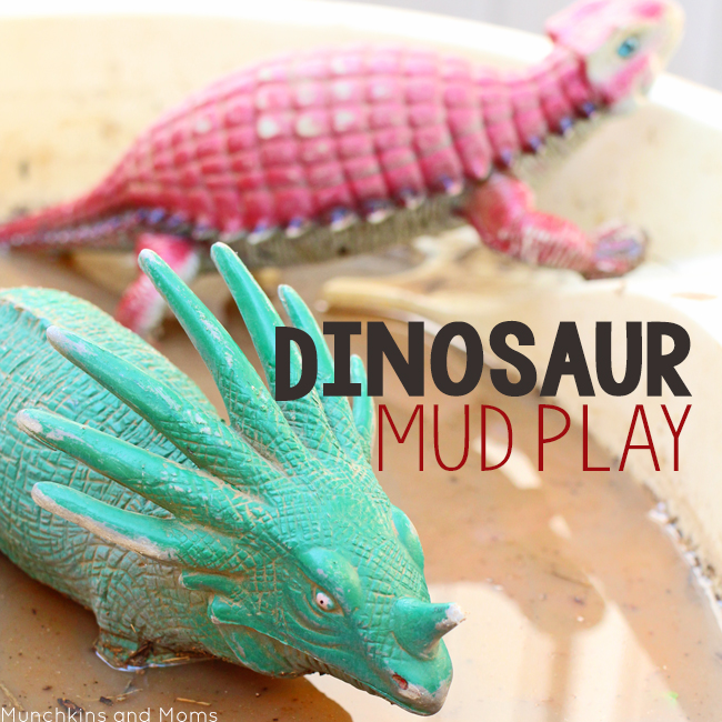 Dinosaur Mud Play- a great preschool sensory activity for our dinosaur theme!