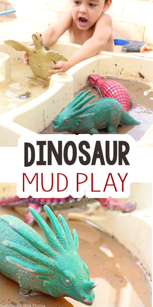 Dinosaur Mud Play- a great preschool sensory activity for our dinosaur theme!