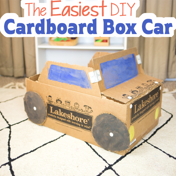 The Easiest DIY Cardboard Box Car! - Munchkins and Moms
