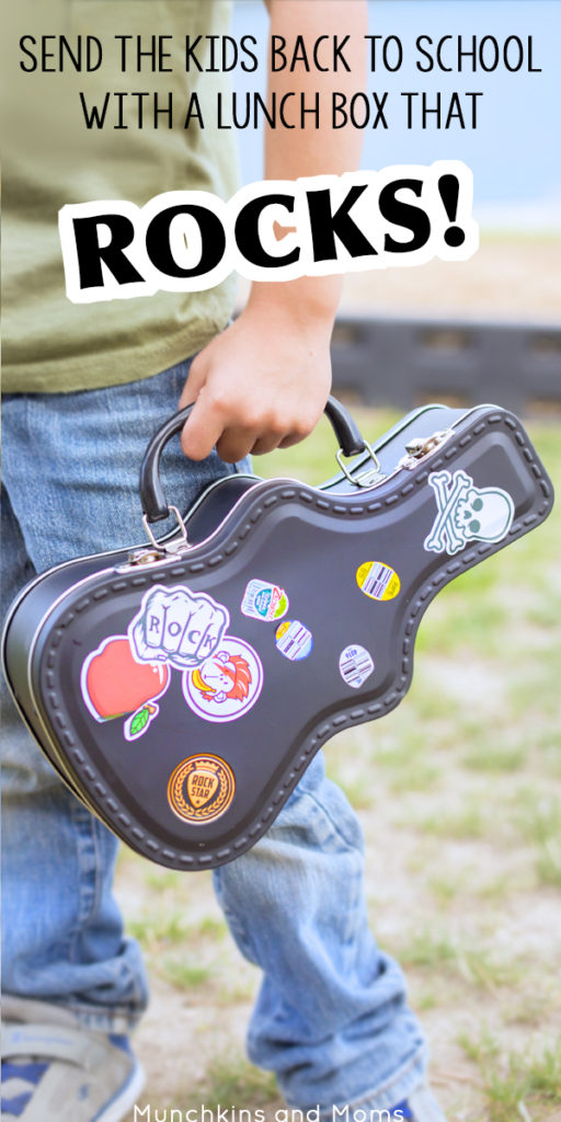Send your kids back to school i style with this rockin' guitar lunch box!
